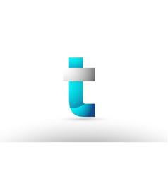 Grey blue alphabet letter t logo 3d design vector