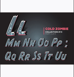 Halloween zombie font raggy alphabet in horror vector