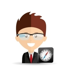 Happy businessman compass network media icon vector