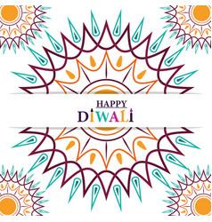 happy diwali festival greeting card mandala vector image