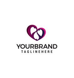 heart family logo design concept template vector image