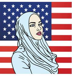 hijab muslim american woman american flag vector image