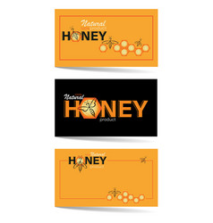 Honey backgrounds set honeycomb swarm bees vector