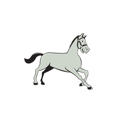 Horse Trotting Side Cartoon Isolated vector