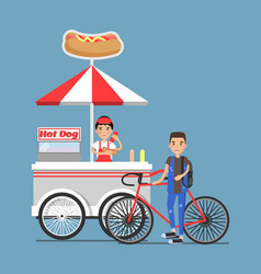 Hot-dog cart with vendor in uniform and customer vector