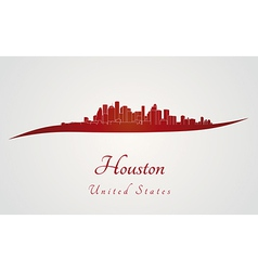 Houston skyline in red vector image