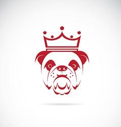 image of bulldog head wearing a crown vector image