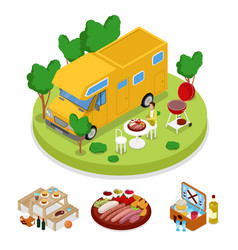 isometric bbq camper picnic party summer camp vector image
