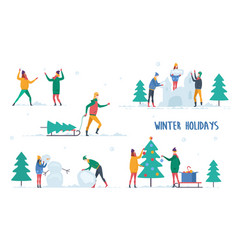 man and woman winter activity vector image