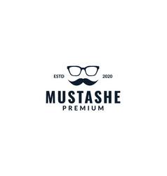 Masculine mustache with sunglasses logo design vector