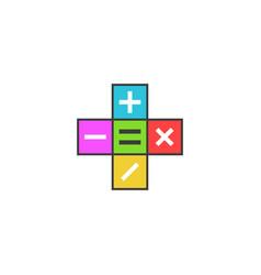 math calculator logo mathematical symbols plus vector image