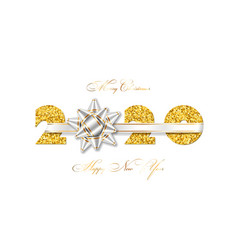 merry christmas card 3d gift ribbon bow gold vector image