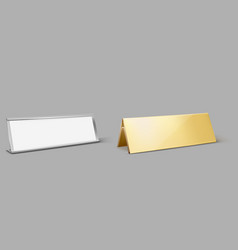 metal table card holder empty golden name plate vector image