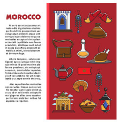 morocco travel agency promo informative poster vector image