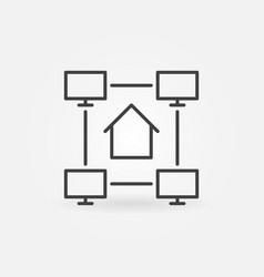 online work from home linear concept vector image