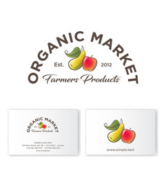 organic market logo healthy food sign apple pear vector image