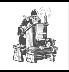 orthodox scribe creates a manuscript vector image