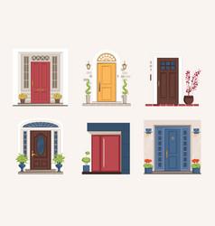 Outside doors cartoon residential houses vector