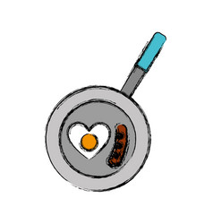 Pan with egg icon vector
