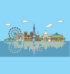 paris colorful line art 3 vector image