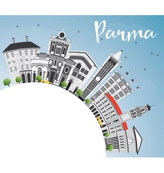 Parma skyline with gray buildings vector