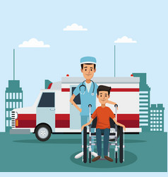 Patient on wheelchair outside hospital vector