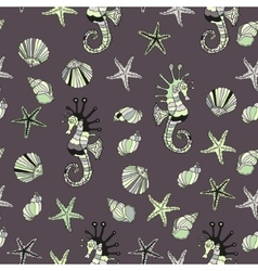 Pattern with sea shells starfish and horse vector