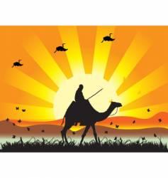 People on camel in desert vector