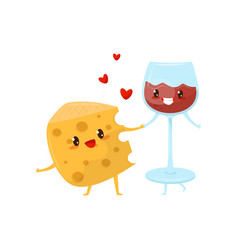 piece of cheese and glass of wine are friends vector image