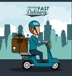 Poster city landscape with fast delivery man vector