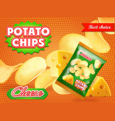 potato chips advertisement cheese flavor vector image