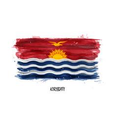 Realistic watercolor painting flag of kiribati vector