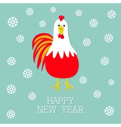 Red Rooster Cock bird Snow flake 2017 Happy New vector image