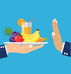 rejecting the offered healthy food vector image