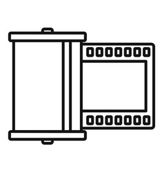 retro camera film icon outline style vector image