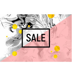 Sale poster black and white marble baclground vector