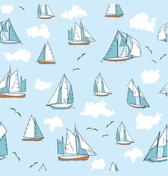 seamless pattern with yachts seagulls and clouds vector image