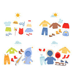 season wardrobe casual clothes for different vector image