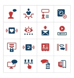 set color icons social network vector image