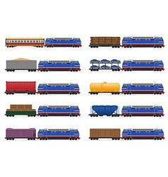 set icons railway train 02 vector image