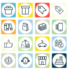 Set of 16 e-commerce icons includes black friday vector
