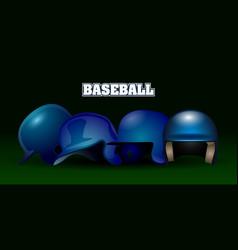 Set of baseball helmets vector