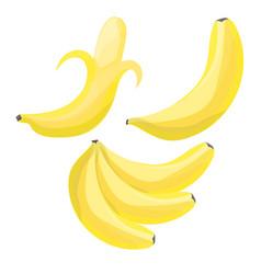 set of cartoon bananas single banana peeled vector image