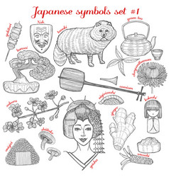 Set of japanese symbols in hand drawn style vector