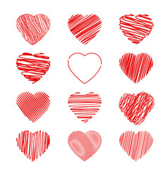 set red heart vector image