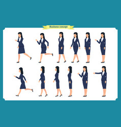 set walking and running business woman vector image