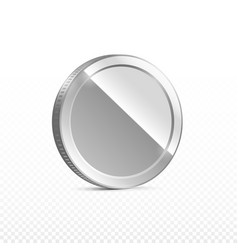 silver coin isolated on transparent in different vector image