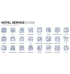 simple set hotel services line icons for website vector image