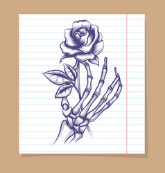Skeleton arm sketch with rose vector