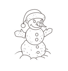 snowman in the foot of his hat coloring book vector image